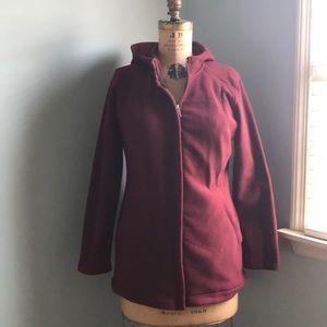 Land's End Burgundy Fleece Jacket Sz Small Petite